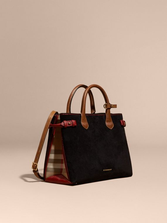Sac The Banner medium en cuir velours et coton House check Noir/rouge Parade