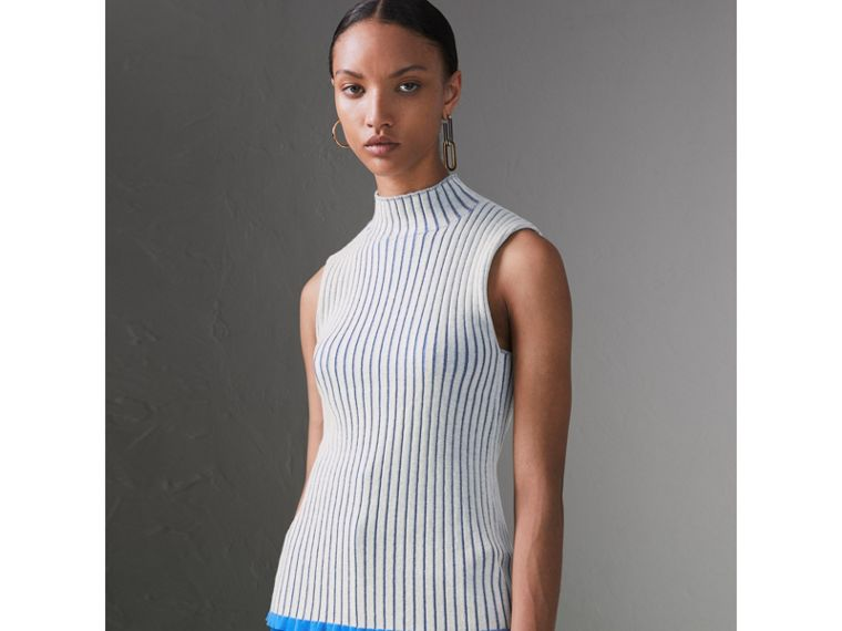 Sleeveless Rib Knit Cashmere Silk Turtleneck Sweater in Grey - Women | Burberry - cell image 4