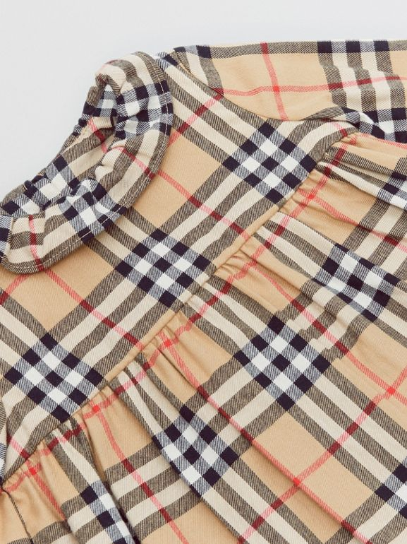 Long-sleeve Vintage Check Cotton Flannel Dress in Archive Beige - Children | Burberry - cell image 1