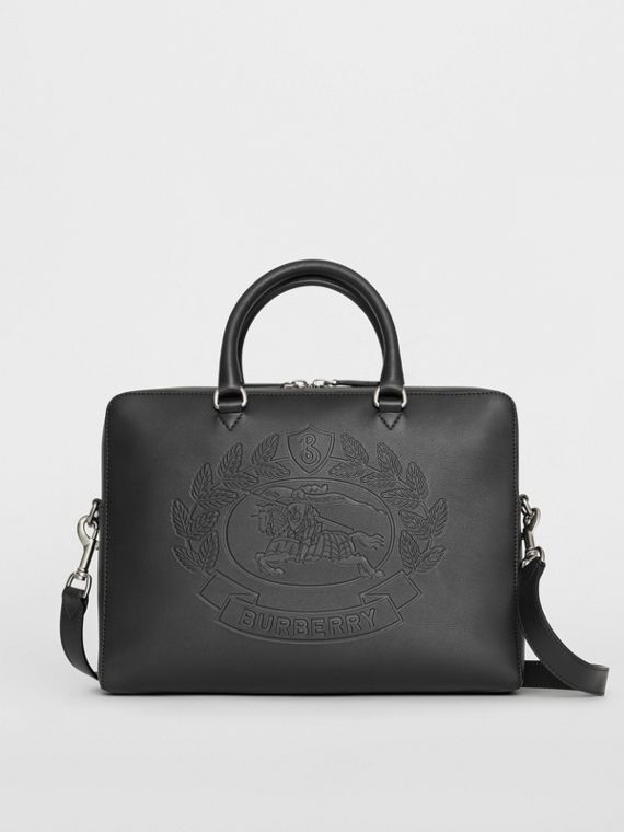 Embossed Crest Leather Briefcase in Black