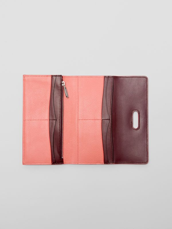 D-ring Grainy Leather Continental Wallet in Bright Coral Pink - Women | Burberry - cell image 3