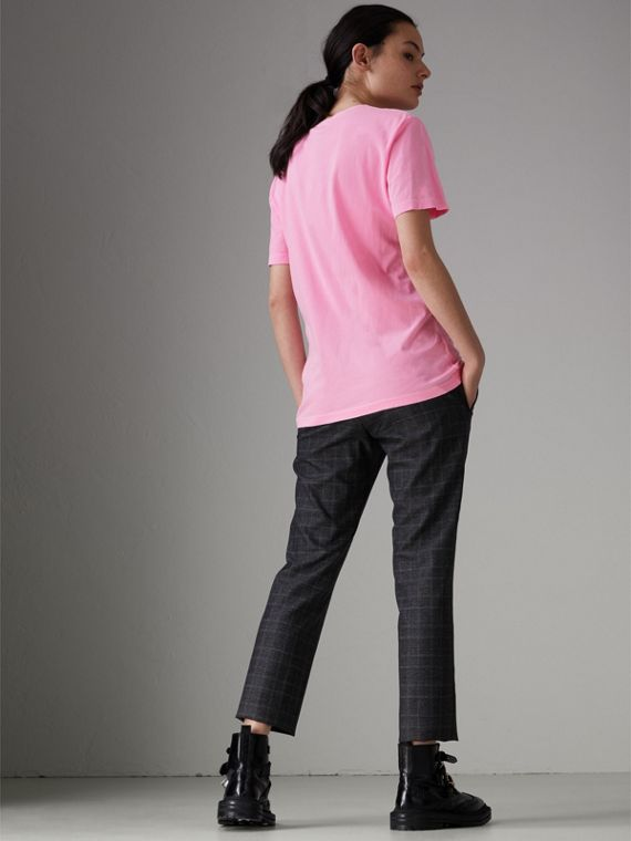 Doodle Print Cotton T-shirt in Bright Rose Pink - Women | Burberry Singapore - cell image 2