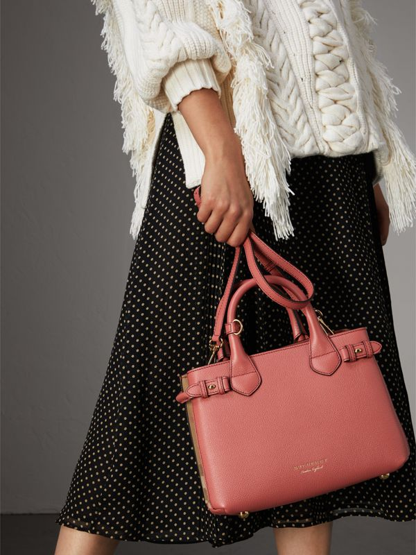 The Small Banner in Leather and House Check in Cinnamon Red - Women | Burberry - cell image 2