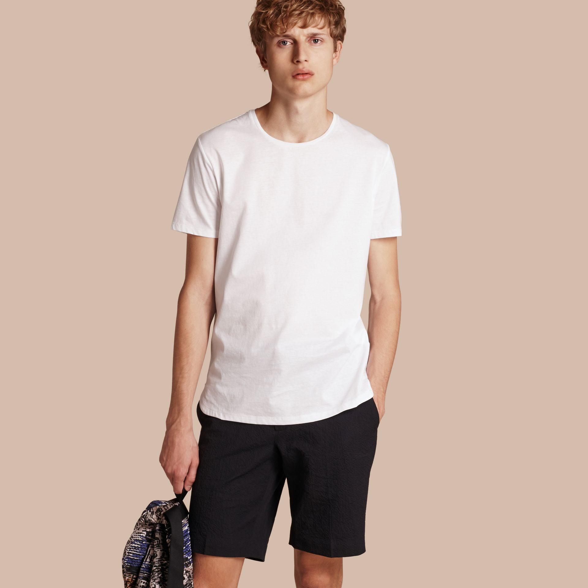 Crew Neck Cotton T-shirt in White - Men | Burberry - gallery image 1