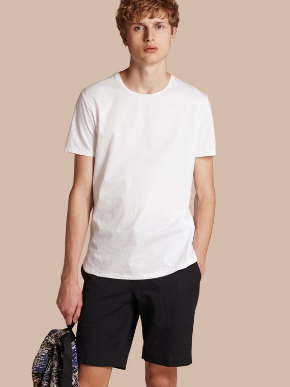 Crew Neck Cotton T-shirt in White - Men | Burberry