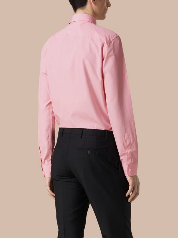 Modern Fit Cotton Poplin Shirt in City Pink - cell image 2
