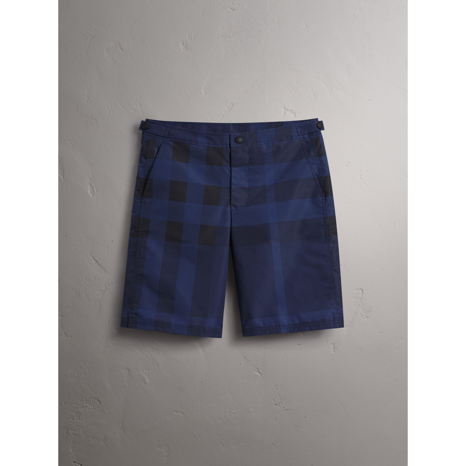 Tailored Check Technical Swim Shorts in Dark Navy - Men | Burberry Canada - gallery image 4
