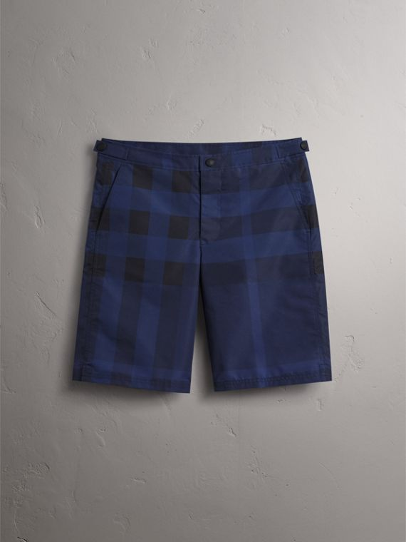 Tailored Check Technical Swim Shorts in Dark Navy