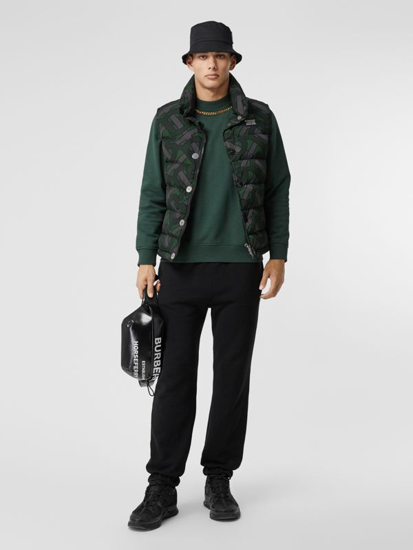 Monogram Print Puffer Gilet in Forest Green | Burberry - cell image 2