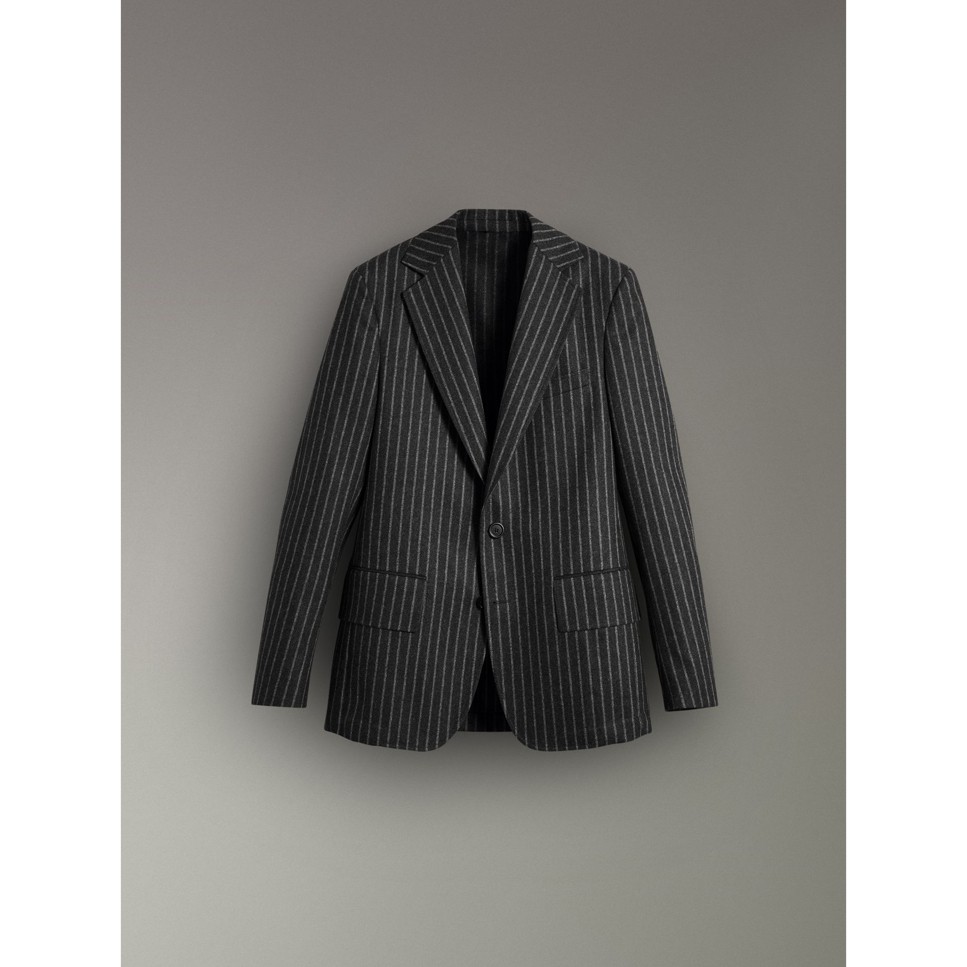 Pinstriped Wool Blend Twill Tailored Jacket in Dark Grey | Burberry - gallery image 3