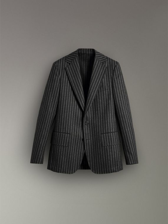 Pinstriped Wool Blend Twill Tailored Jacket in Dark Grey | Burberry - cell image 3