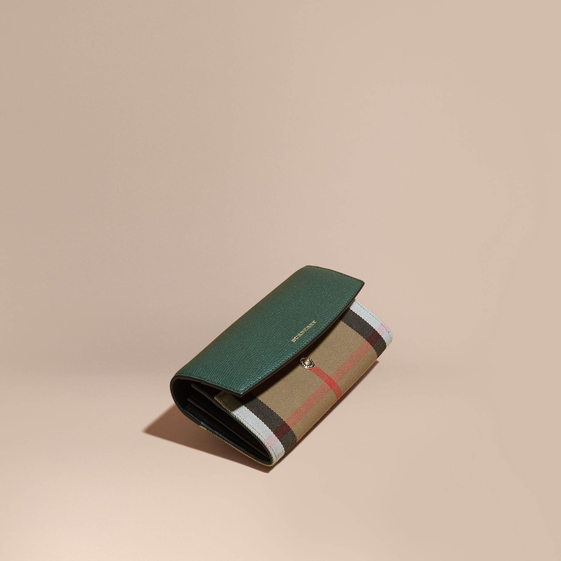 House Check And Leather Continental Wallet in Dark Bottle Green - gallery image 1