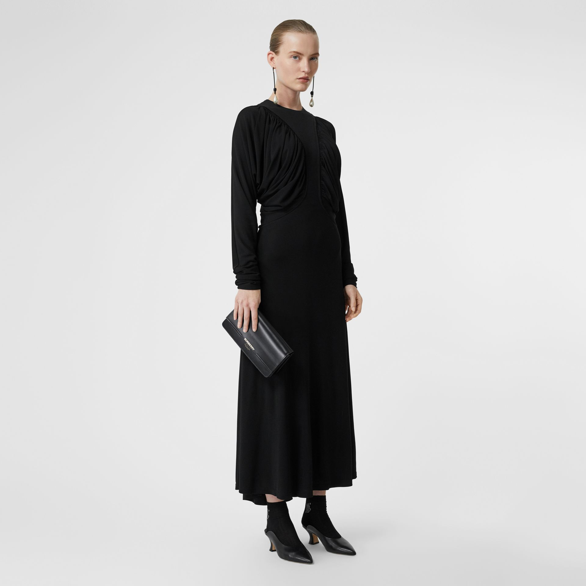 Ruched Panel Jersey Gown in Black - Women | Burberry United States - gallery image 5