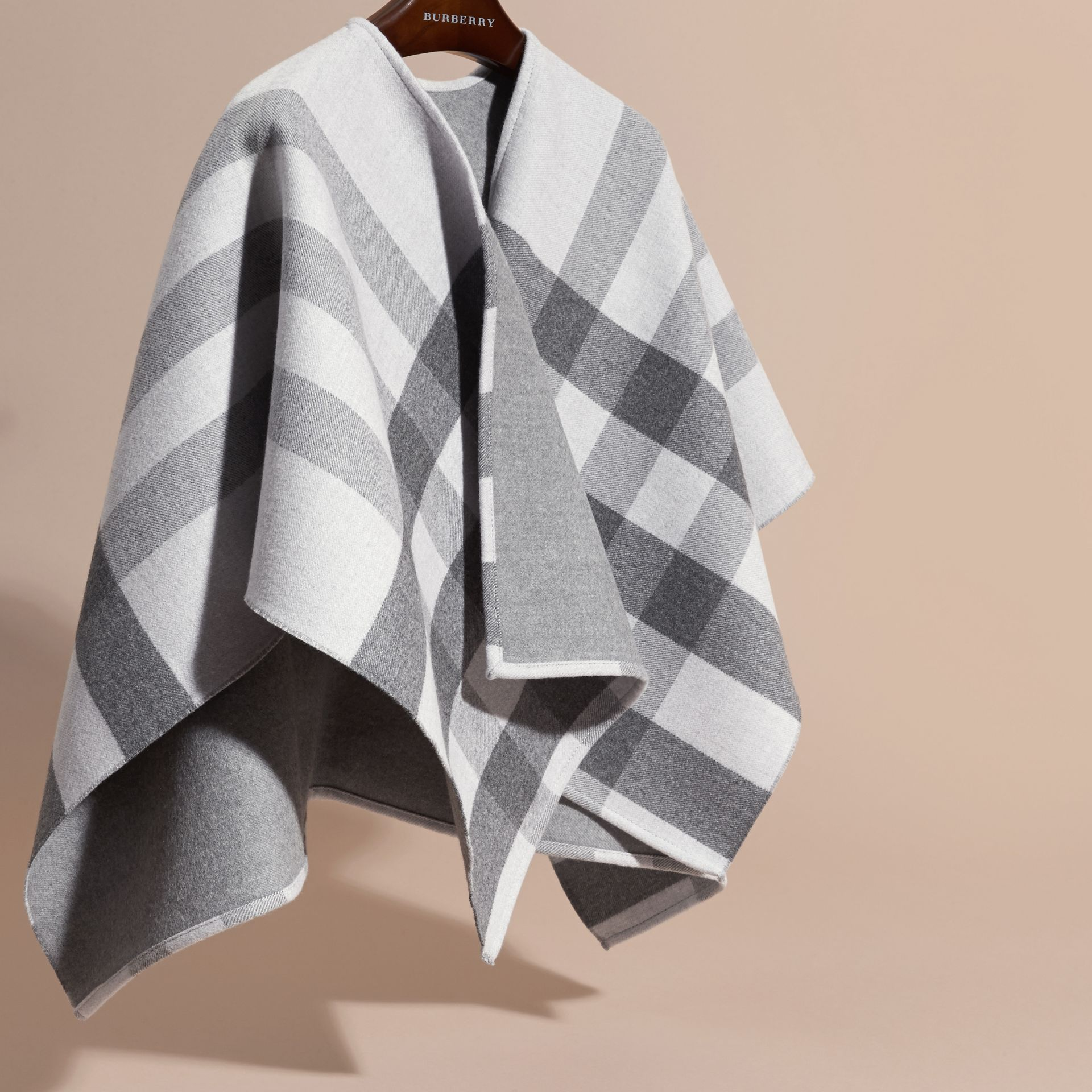 Pale grey Check Wool Cape - gallery image 3
