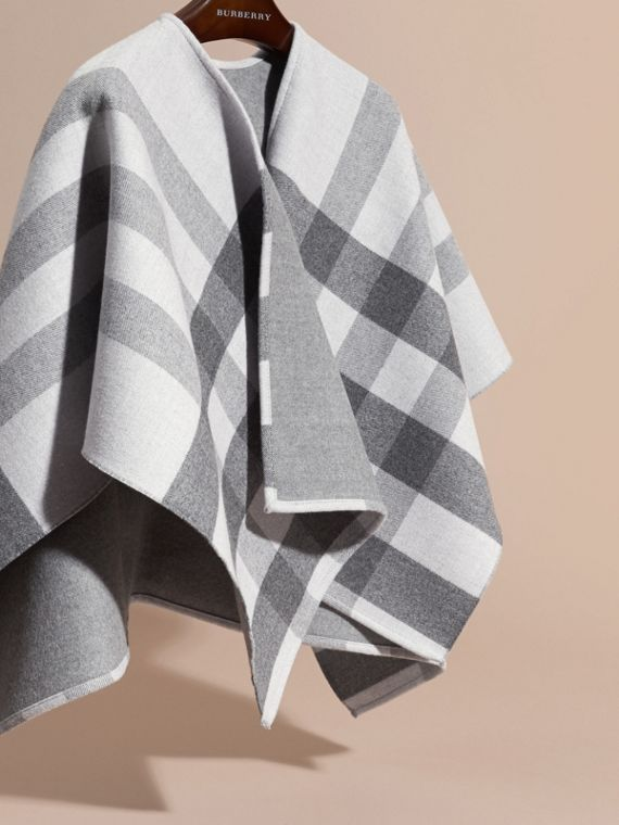 Pale grey Check Wool Cape - cell image 2
