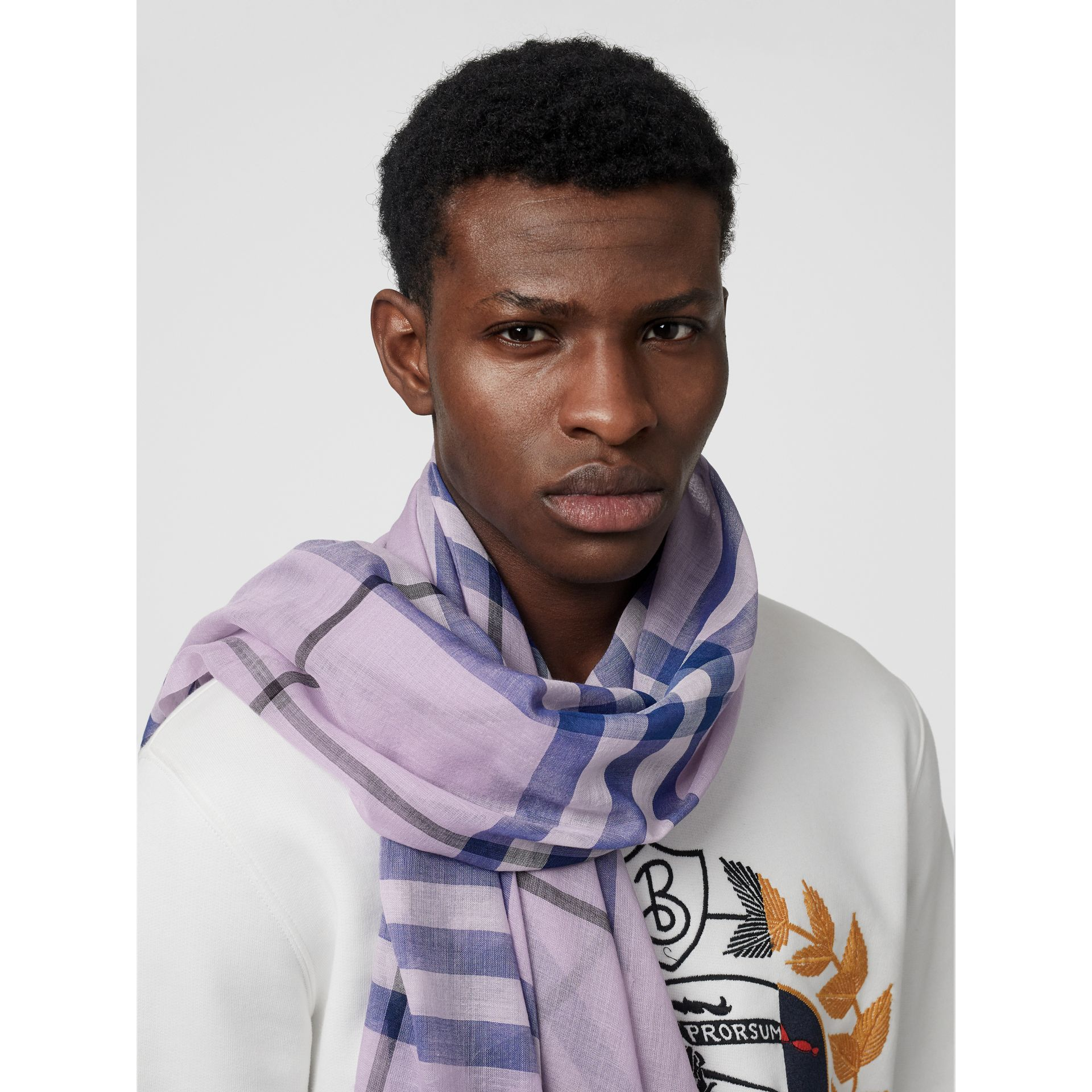 Lightweight Check Wool and Silk Scarf in Pale Orchid | Burberry Canada - gallery image 3