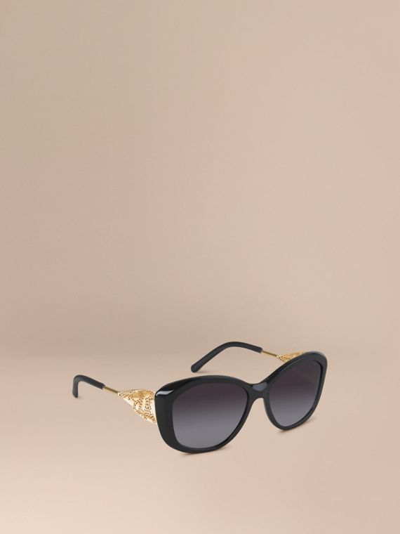 Gabardine Lace Collection Square Frame Sunglasses Black