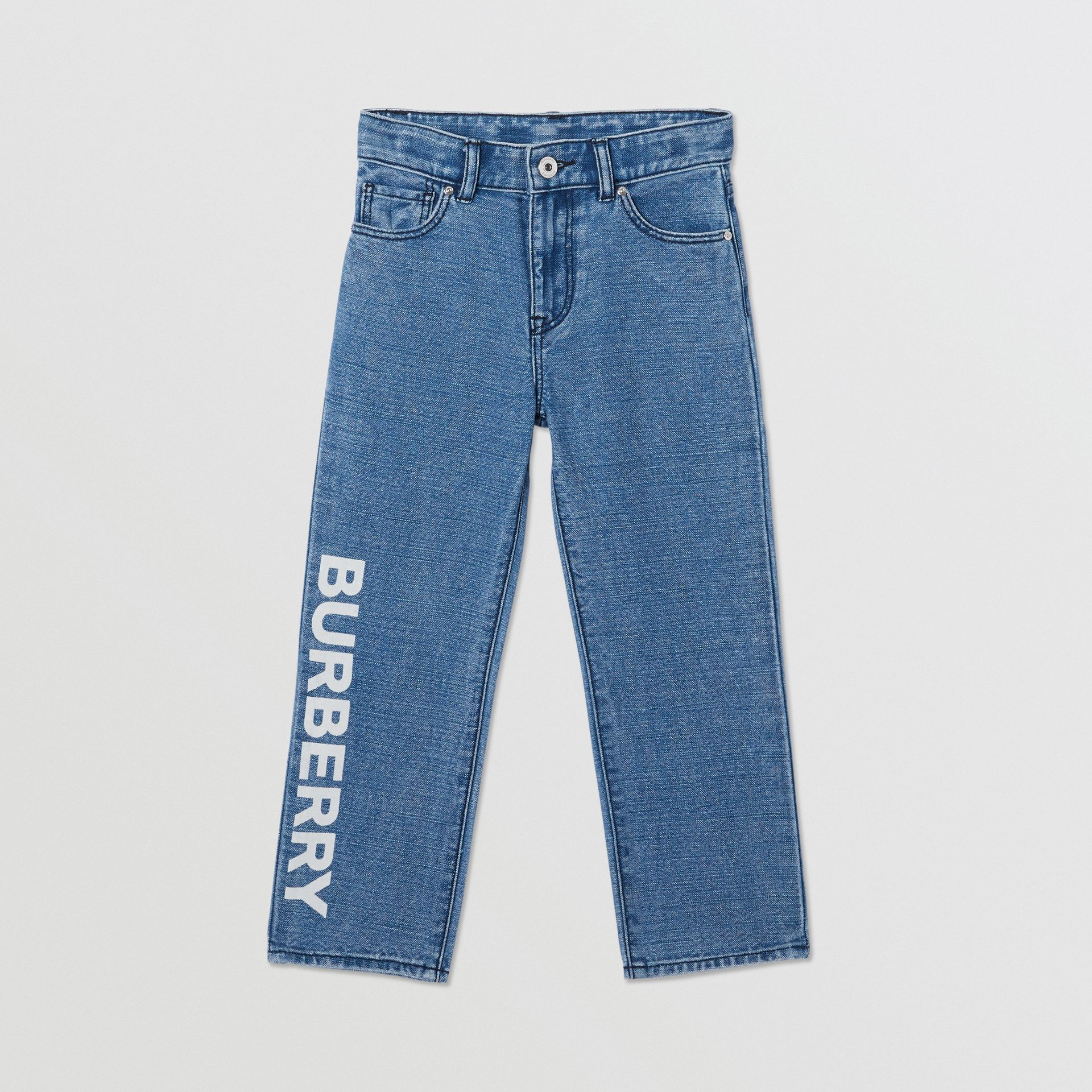 Logo Print Japanese Denim Jeans in Indigo - Boy | Burberry - gallery image 0