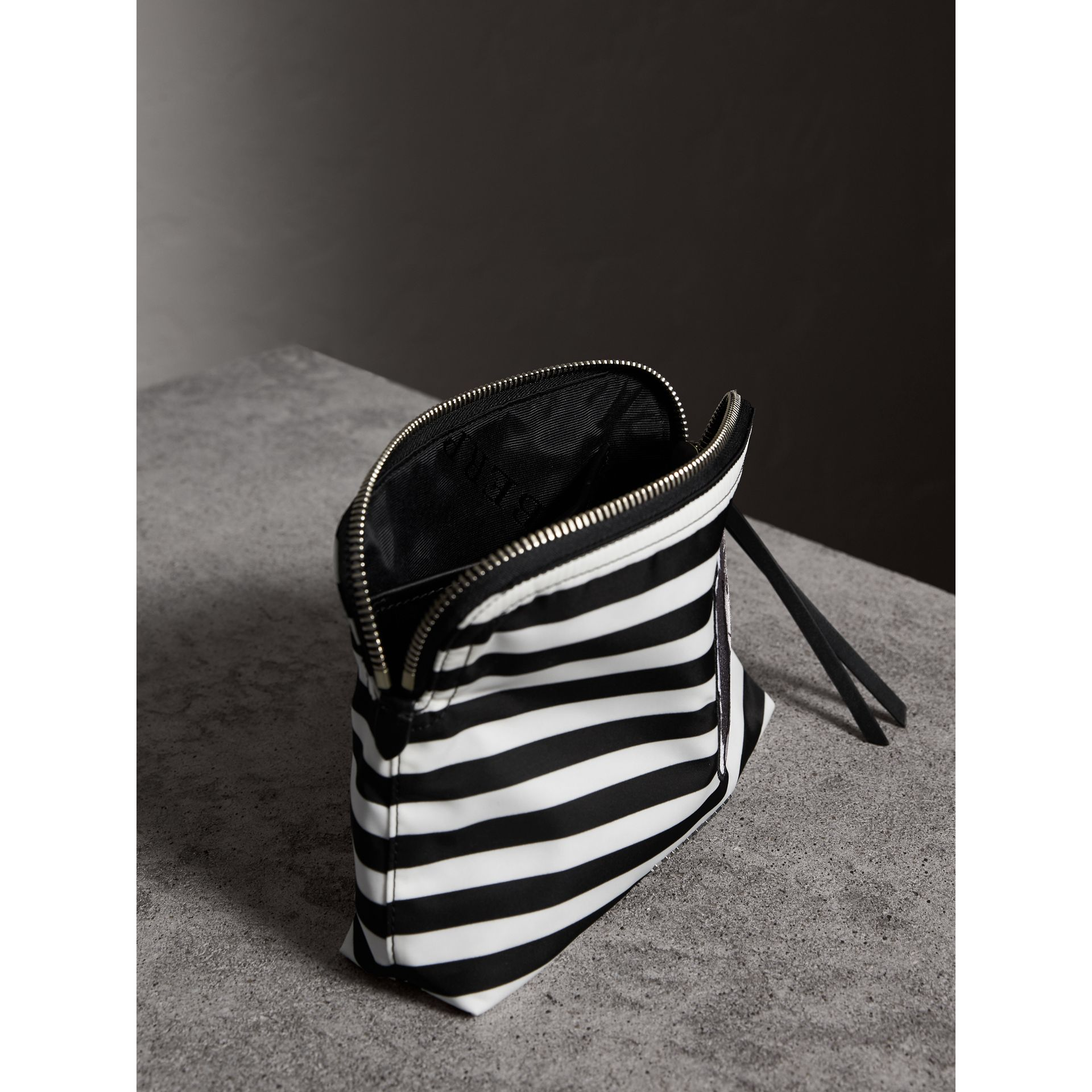 Large Striped Pouch with Pallas Heads Appliqué in Black/white - Women | Burberry - gallery image 4