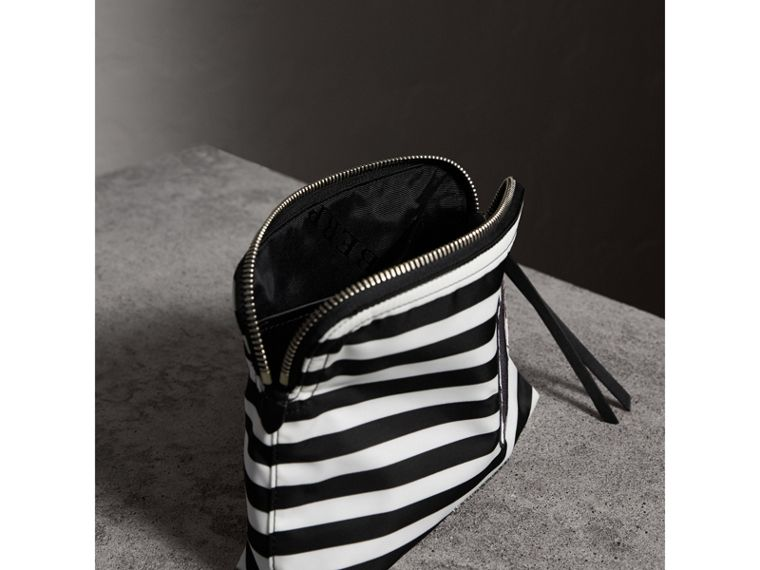 Large Striped Pouch with Pallas Heads Appliqué in Black/white - Women | Burberry - cell image 4