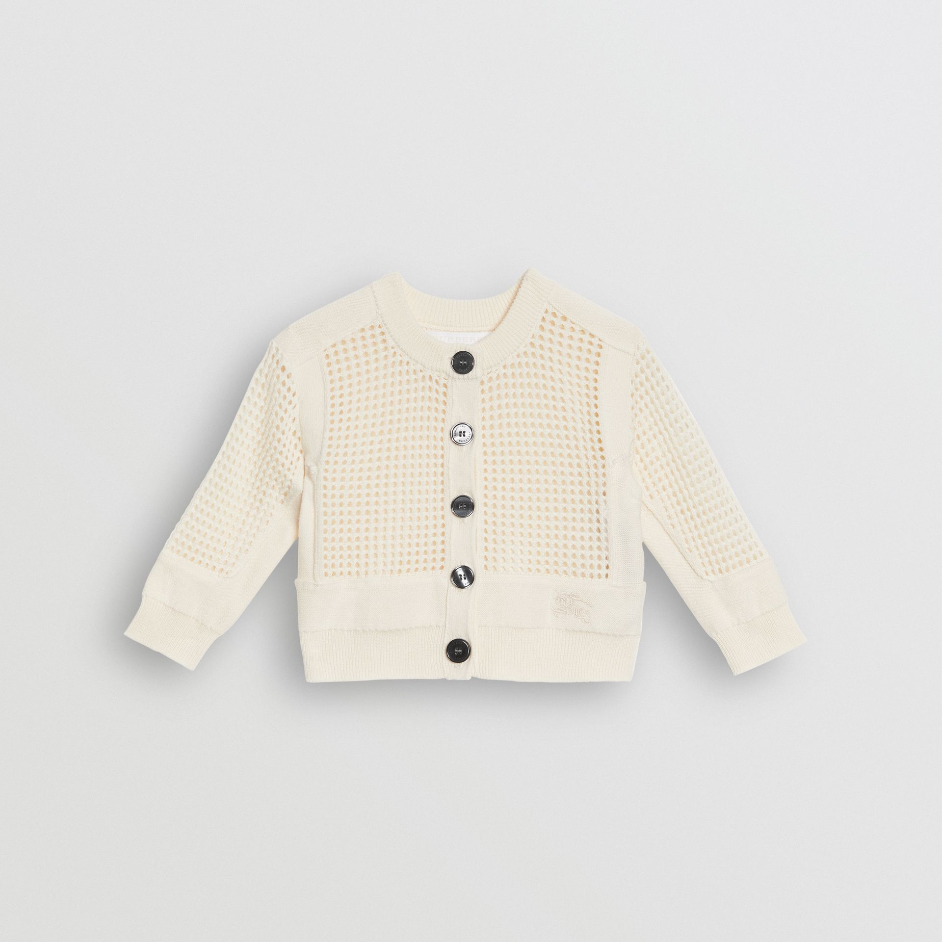 Open Knit Cotton Crew Neck Cardigan in Ivory - Children | Burberry - gallery image 0