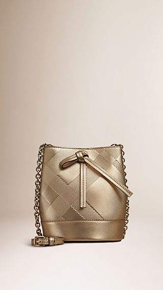 The Baby Bucket in Embossed Check Leather