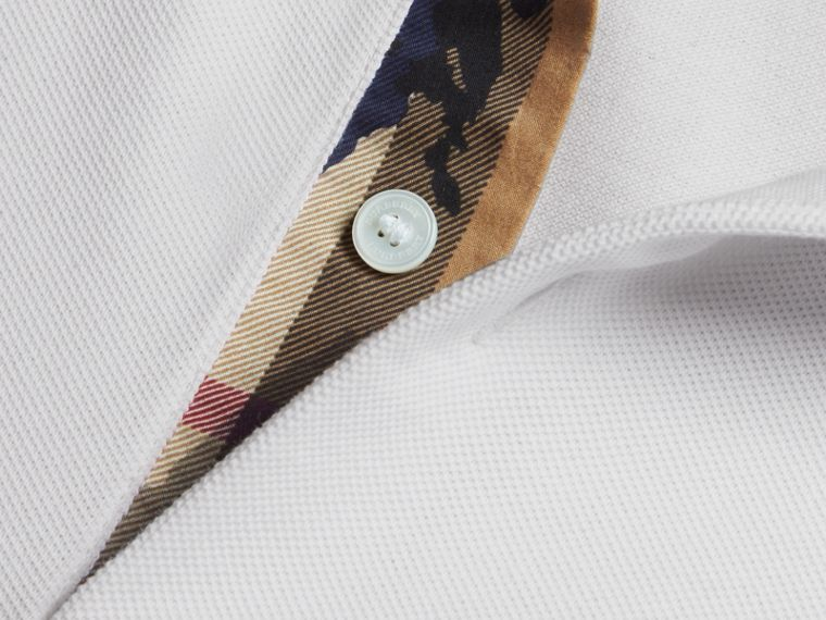Printed Check Placket Cotton Piqué Polo Shirt in White - cell image 1