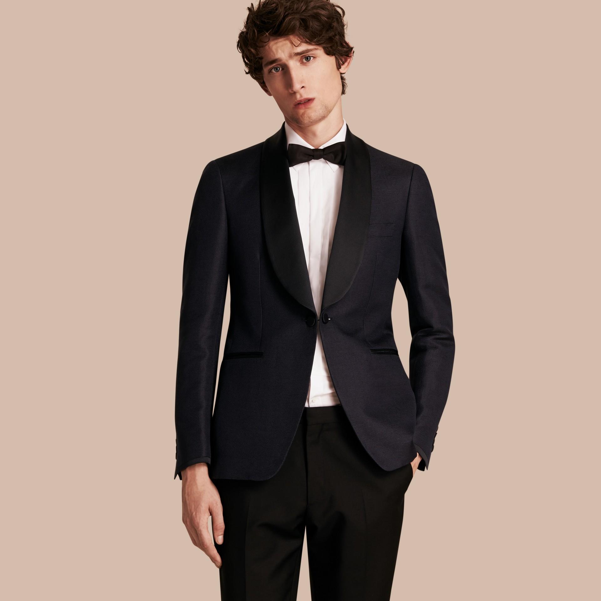 Slim Fit Shawl Lapel Linen Silk Evening Jacket Navy - gallery image 1