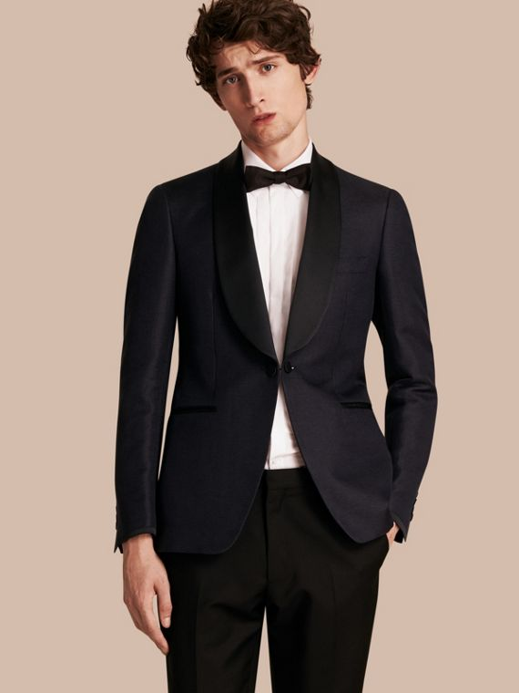 Slim Fit Shawl Lapel Linen Silk Evening Jacket in Navy