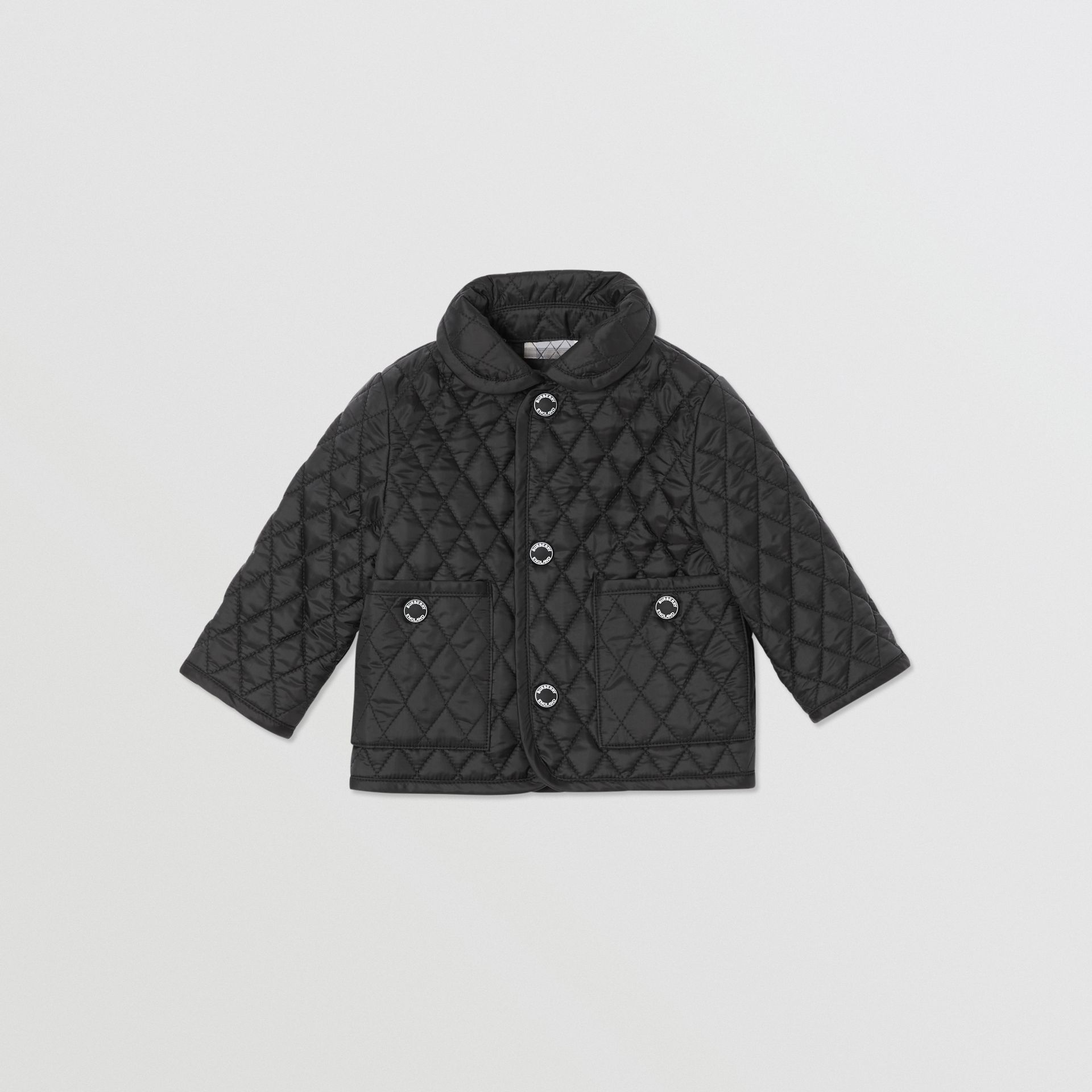 Showerproof Diamond Quilted Jacket in Black - Children | Burberry - gallery image 0