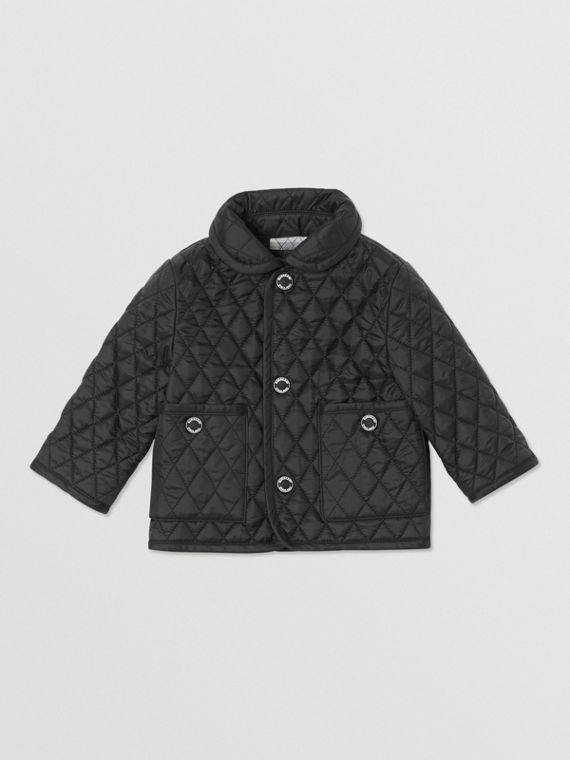 Showerproof Diamond Quilted Jacket in Black