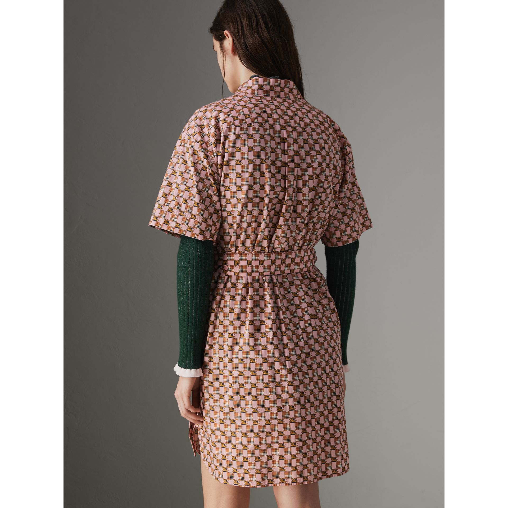 Tiled Archive Print Cotton Shirt Dress in Pink - Women | Burberry - gallery image 2