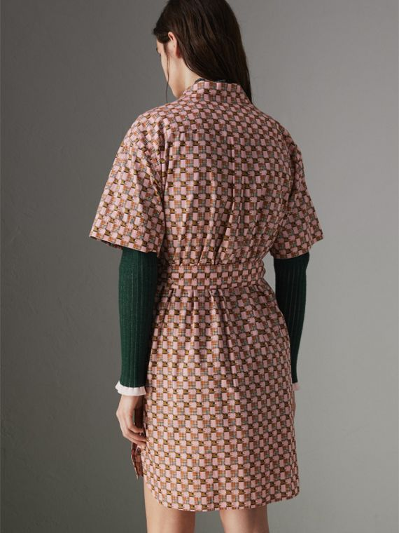 Tiled Archive Print Cotton Shirt Dress in Pink - Women | Burberry United Kingdom - cell image 2