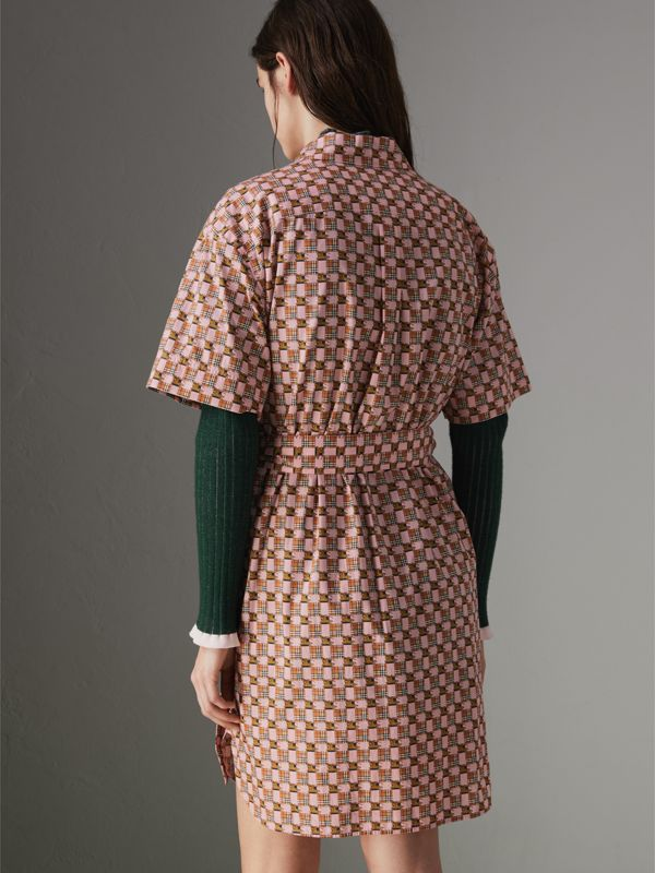 Tiled Archive Print Cotton Shirt Dress in Pink - Women | Burberry - cell image 2