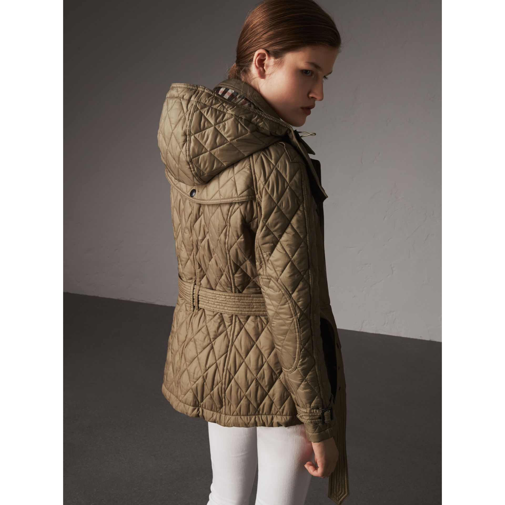 Quilted Trench Jacket with Detachable Hood in Pale Fawn - Women | Burberry - gallery image 2