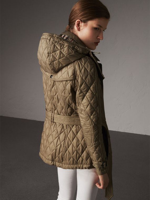 Quilted Trench Jacket with Detachable Hood in Pale Fawn - Women | Burberry Australia - cell image 2