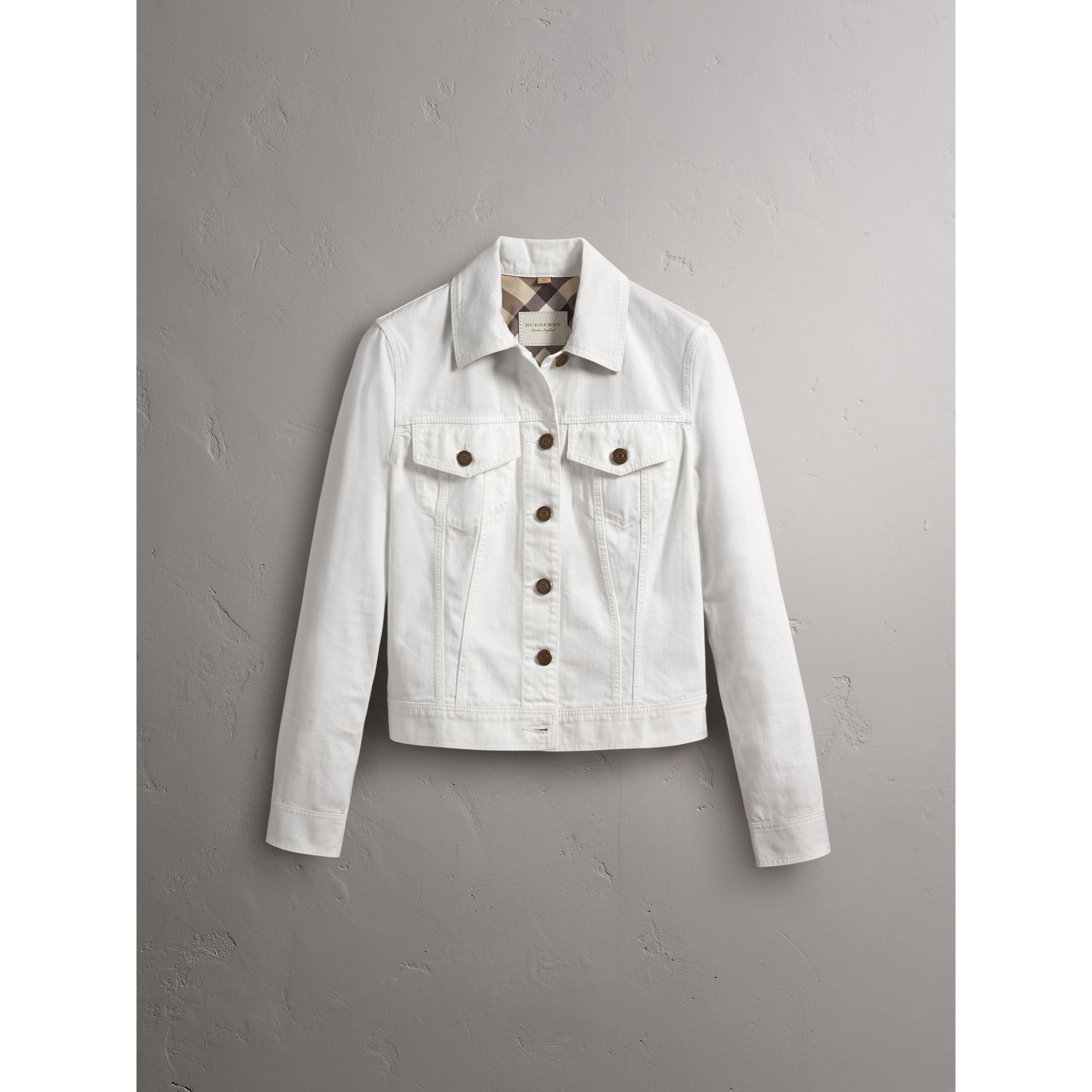 Check Detail Denim Jacket in White - Women | Burberry - gallery image 4
