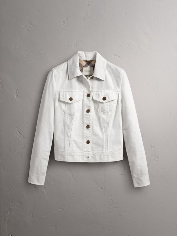 Check Detail Denim Jacket in White - Women | Burberry - cell image 3