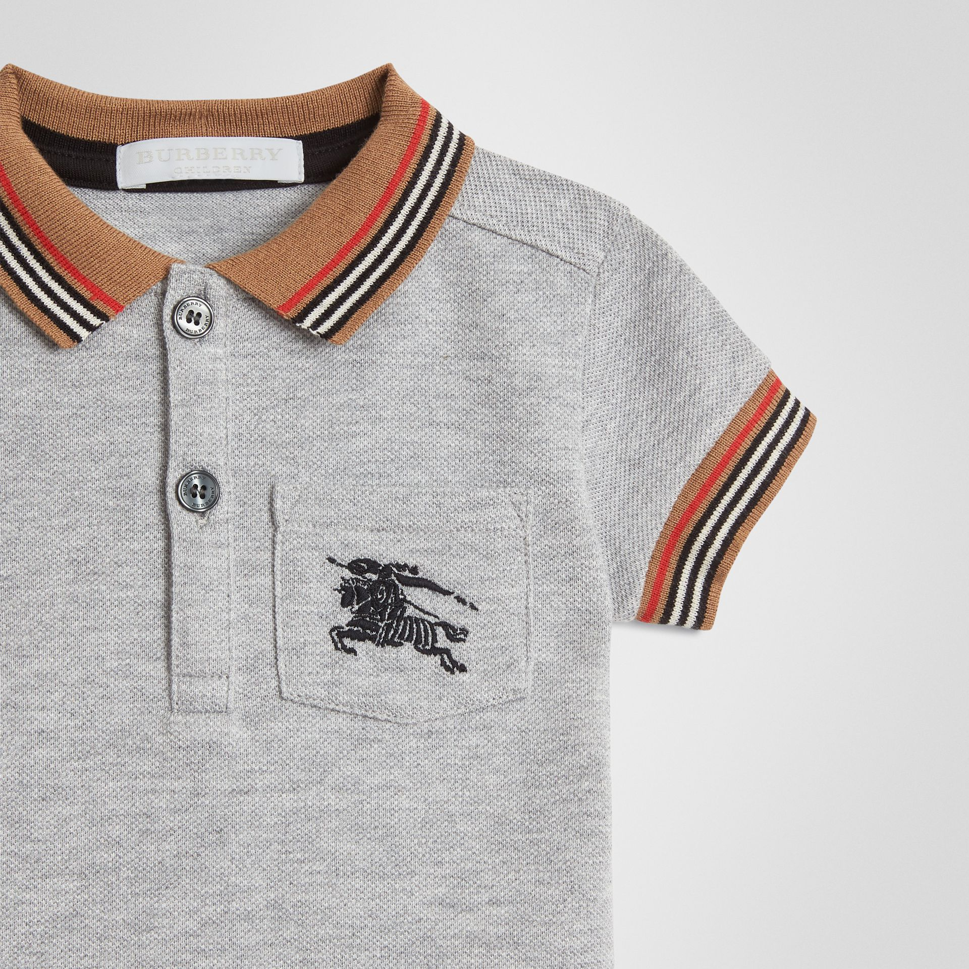 Icon Stripe Detail Cotton Polo Shirt in Grey Melange - Children | Burberry - gallery image 4