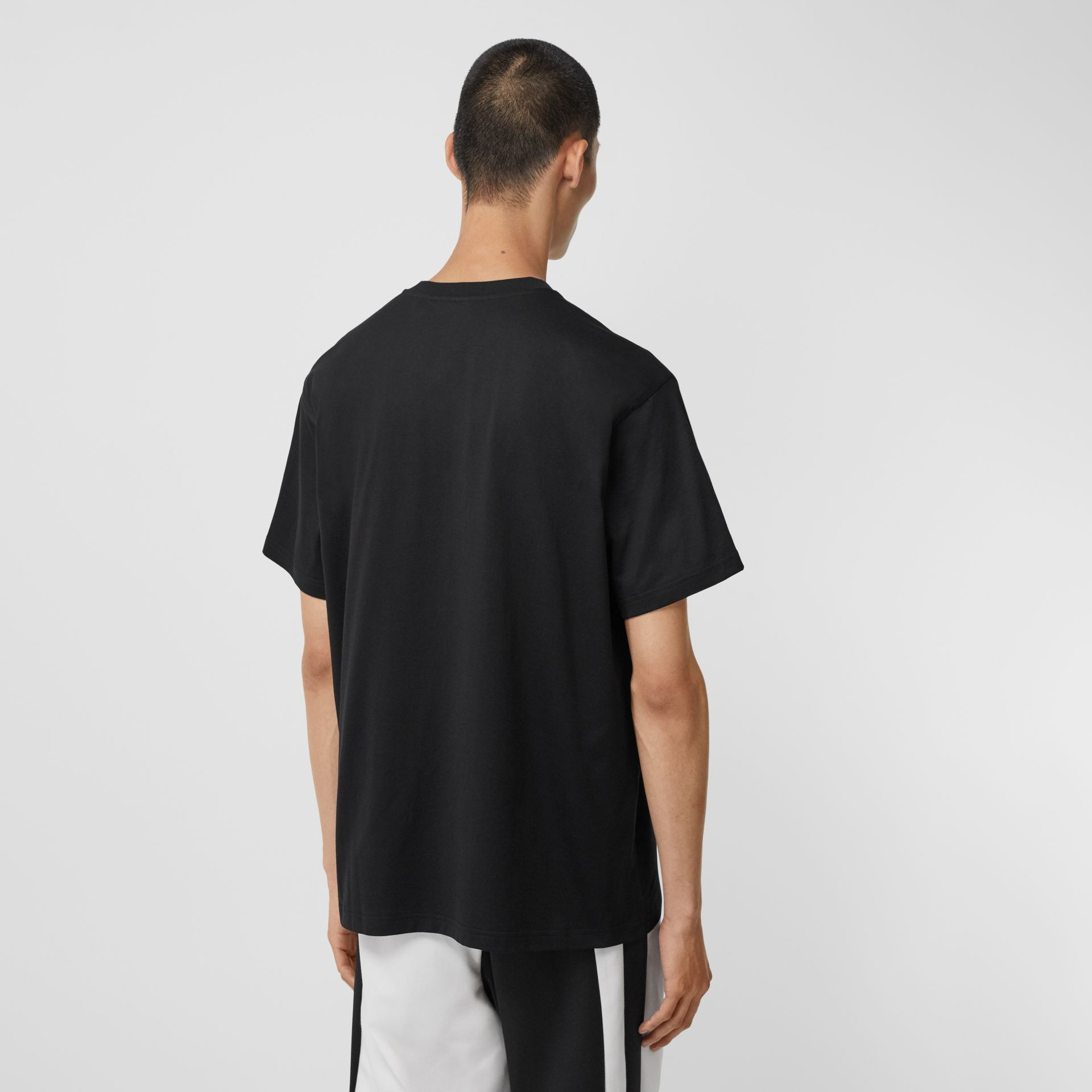 Montage Print Cotton Oversized T-shirt in Black - Men | Burberry United States - gallery image 2