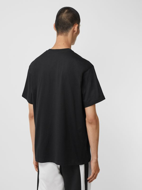 Montage Print Cotton Oversized T-shirt in Black - Men | Burberry United States - cell image 2