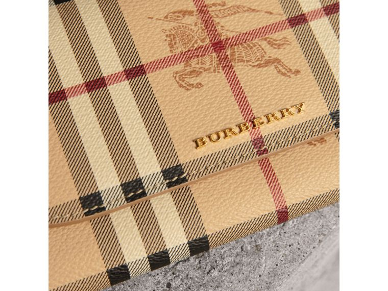 Leather Trim Haymarket Check Wallet with Chain in Mid Camel - Women | Burberry United Kingdom - cell image 1