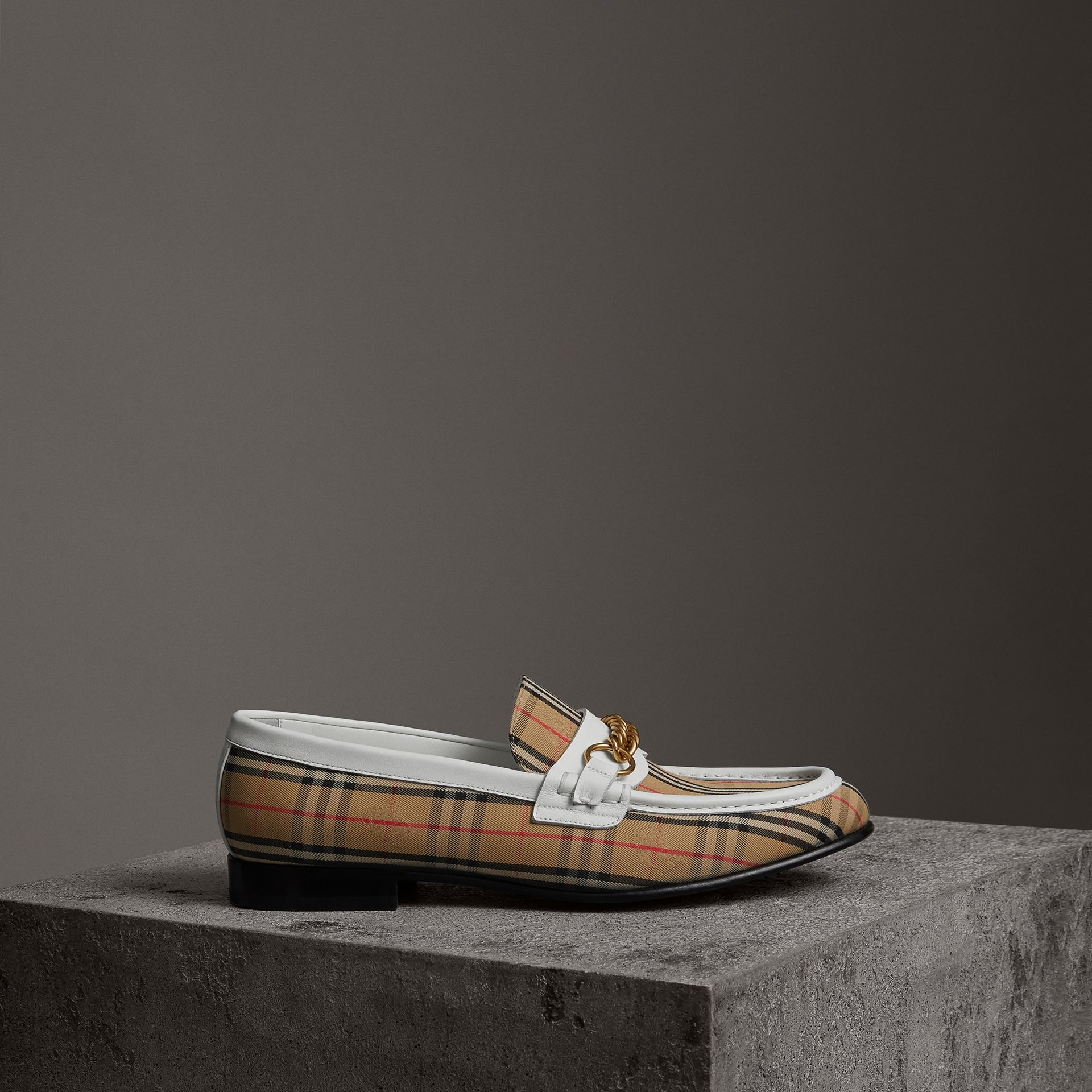 The 1983 Check Link Loafer in Off White | Burberry United Kingdom - gallery image 0
