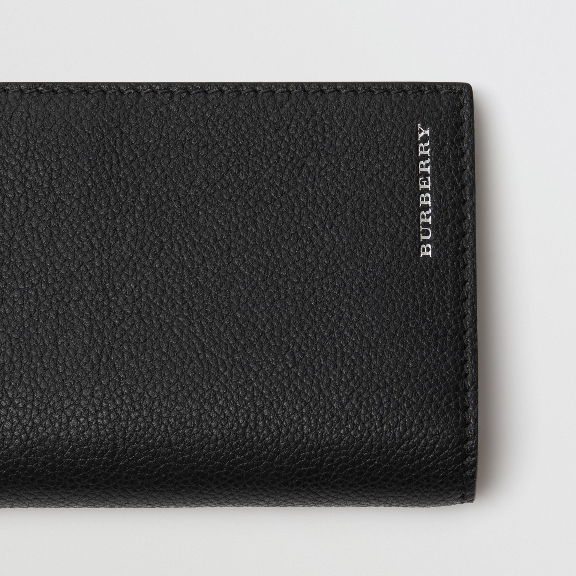 Grainy Leather Continental Wallet in Black - Men | Burberry - gallery image 1