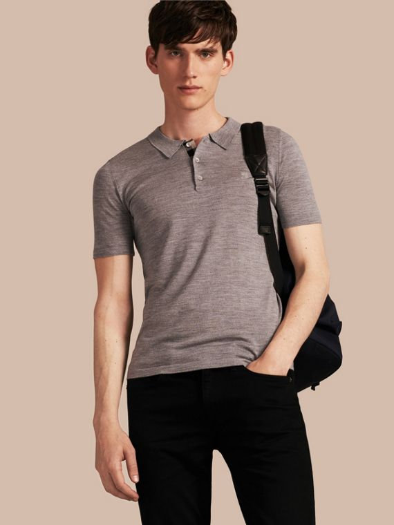 Check Placket Wool and Silk Blend Polo Shirt Pale Grey Melange