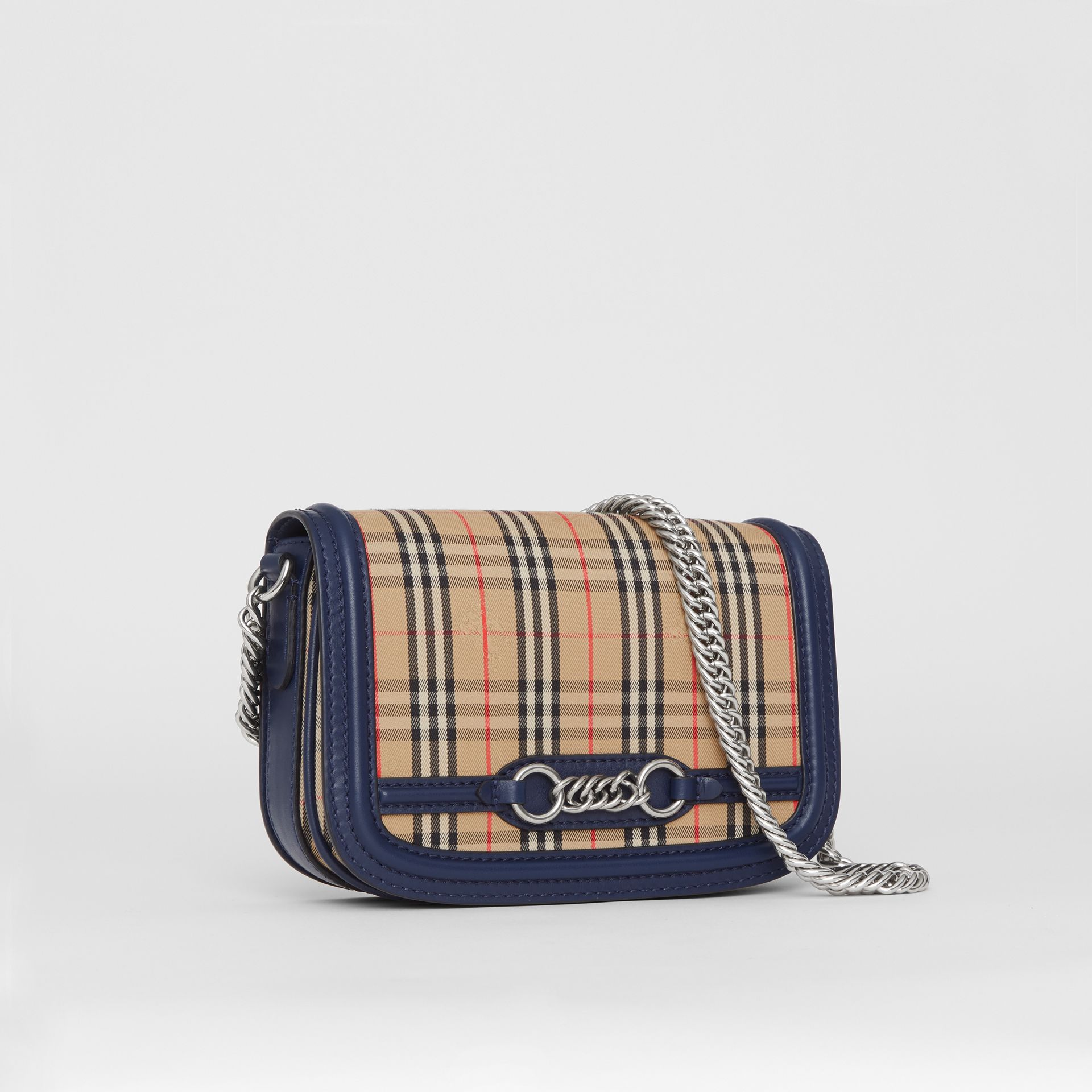 The 1983 Check Link Bag with Leather Trim in Ink Blue - Women | Burberry United Kingdom - gallery image 6