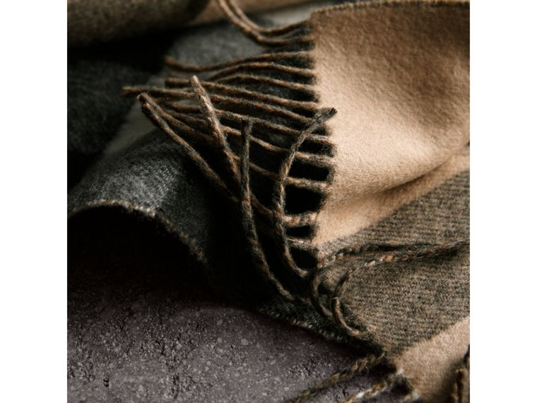 Reversible Check and Melange Cashmere Scarf in Camel | Burberry - cell image 1