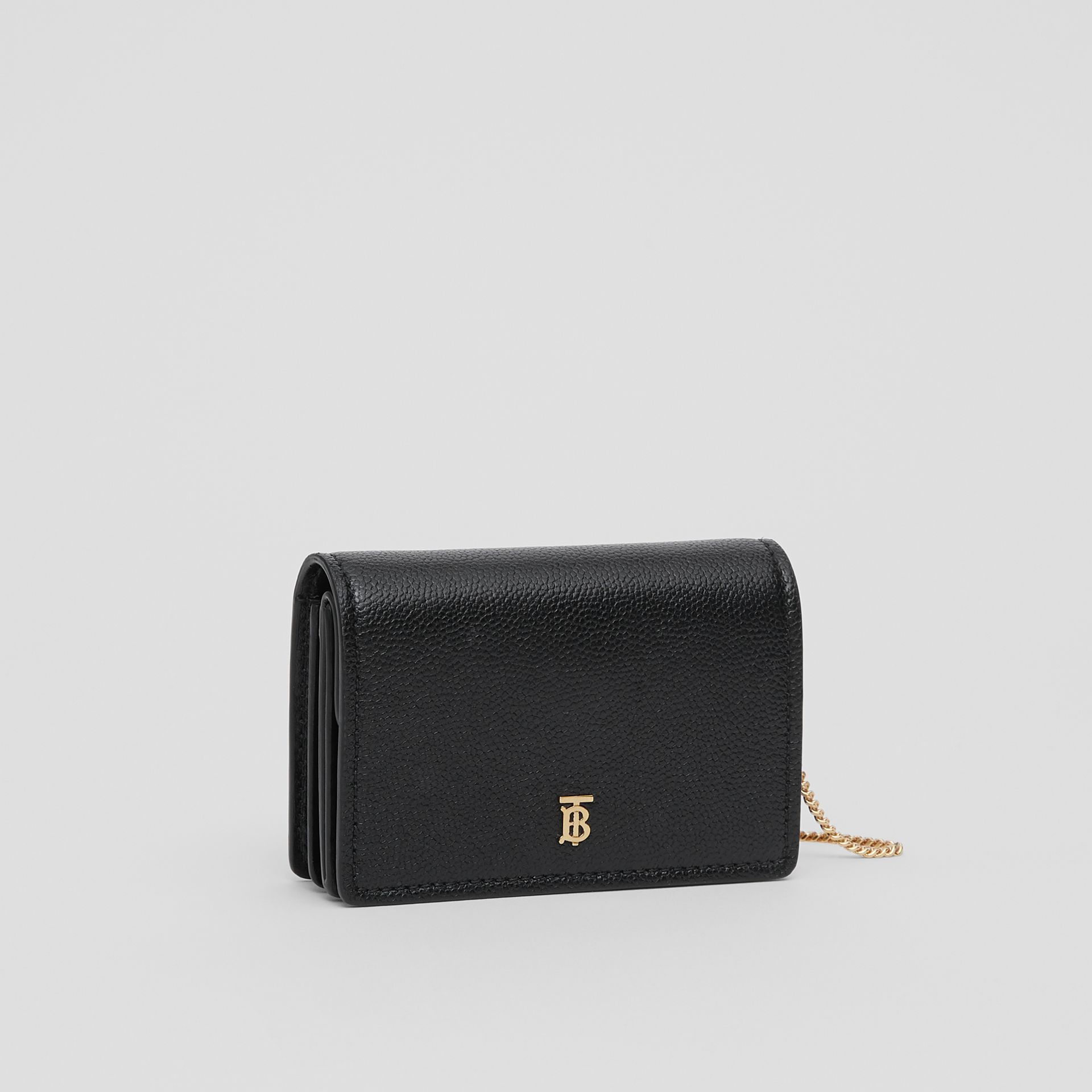 Grainy Leather Card Case with Detachable Strap in Black - Women | Burberry - gallery image 6