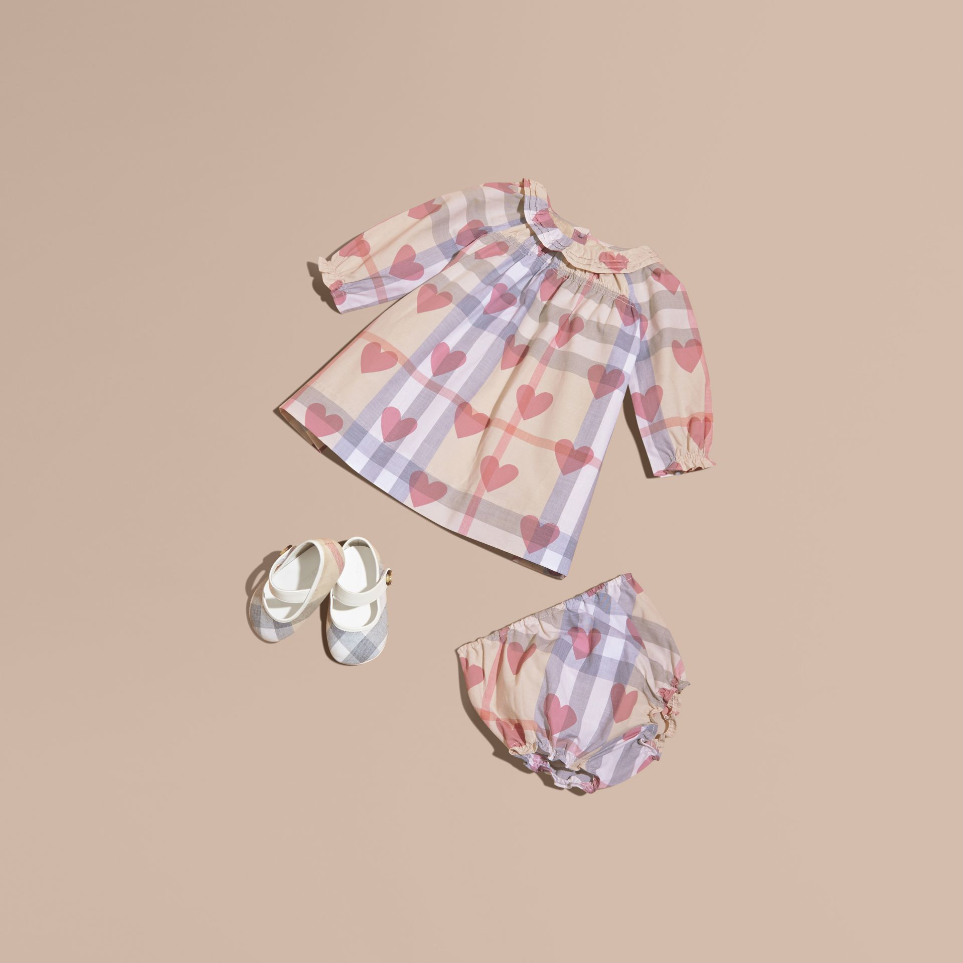 Pale pink Heart and Check Cotton Dress and Bloomers - gallery image 1