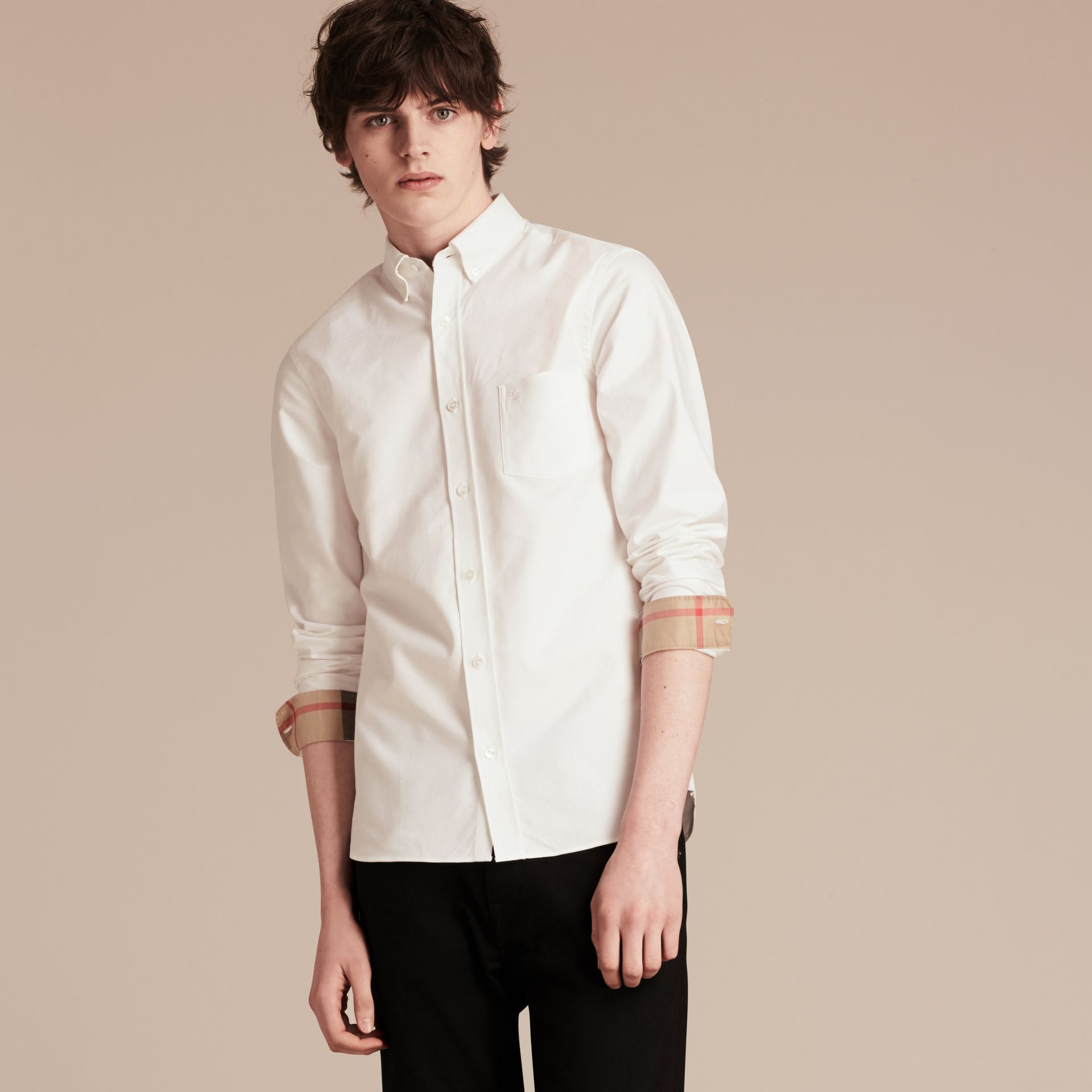 Check Detail Cotton Oxford Shirt in White - Men | Burberry - gallery image 6